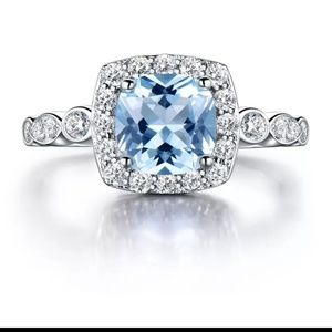 Jewelry - Sterling silver blue topaz ring, S925 sterlingring